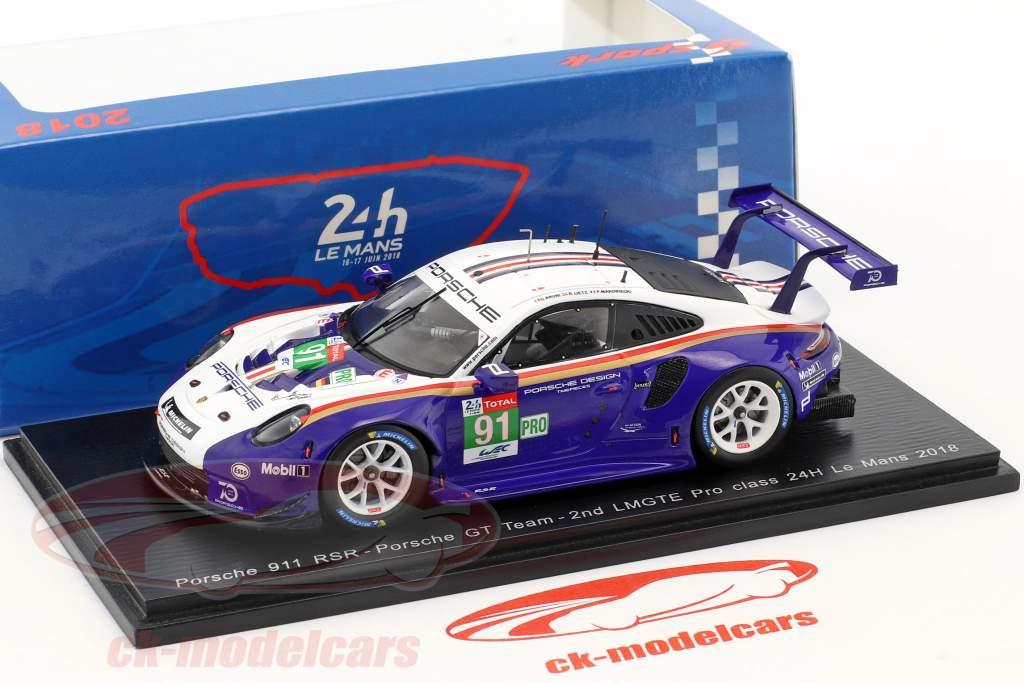 Porsche 911 (991) GT3 RSR #91 2º LMGTE Pro classe 24h LeMans 2018 1:43 Spark