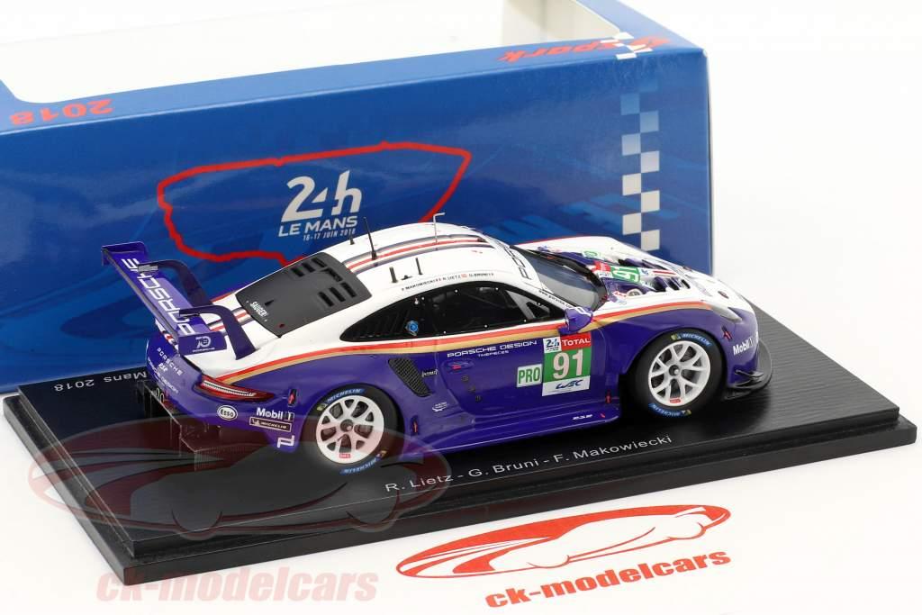 Porsche 911 (991) GT3 RSR #91 2nd LMGTE Pro klasse 24h LeMans 2018 1:43 Spark