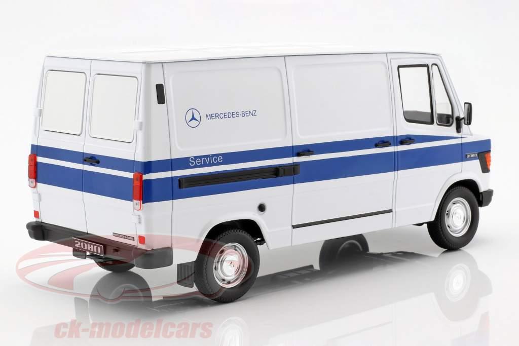 Mercedes-Benz 208 D furgoneta año de construcción 1988 Mercedes Service blanco / azul 1:18 KK-Scale
