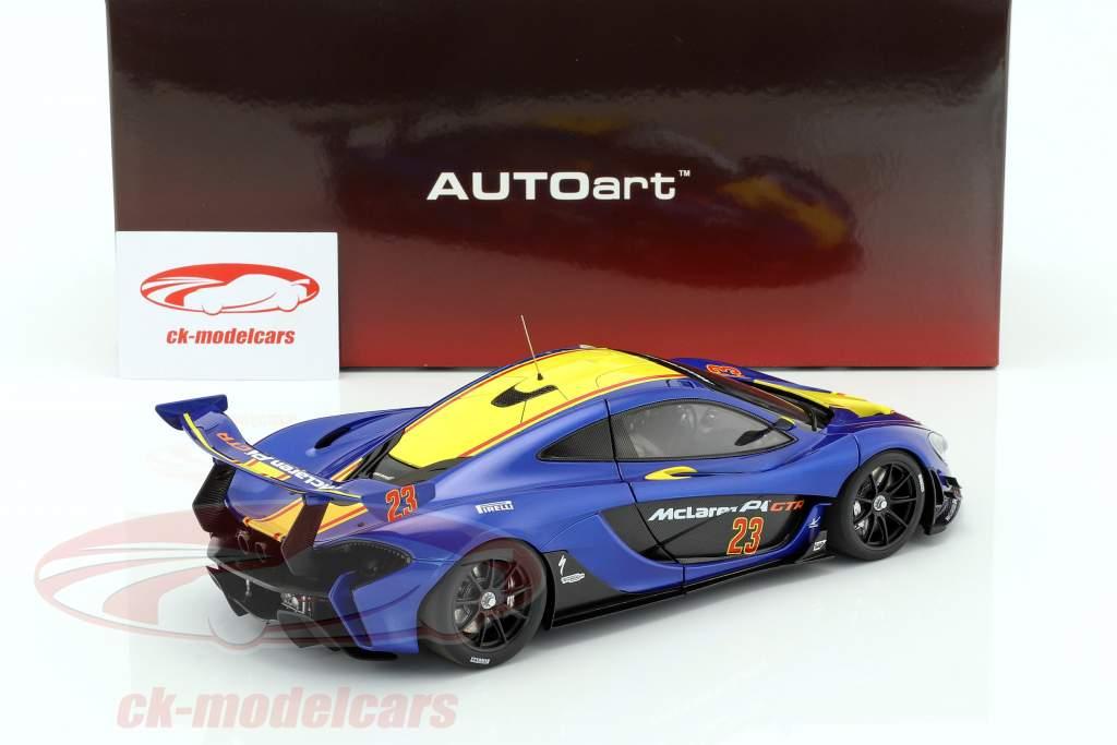 McLaren P1 GTR Baujahr 2015 blue metallic / yellow 1:18 AUTOart