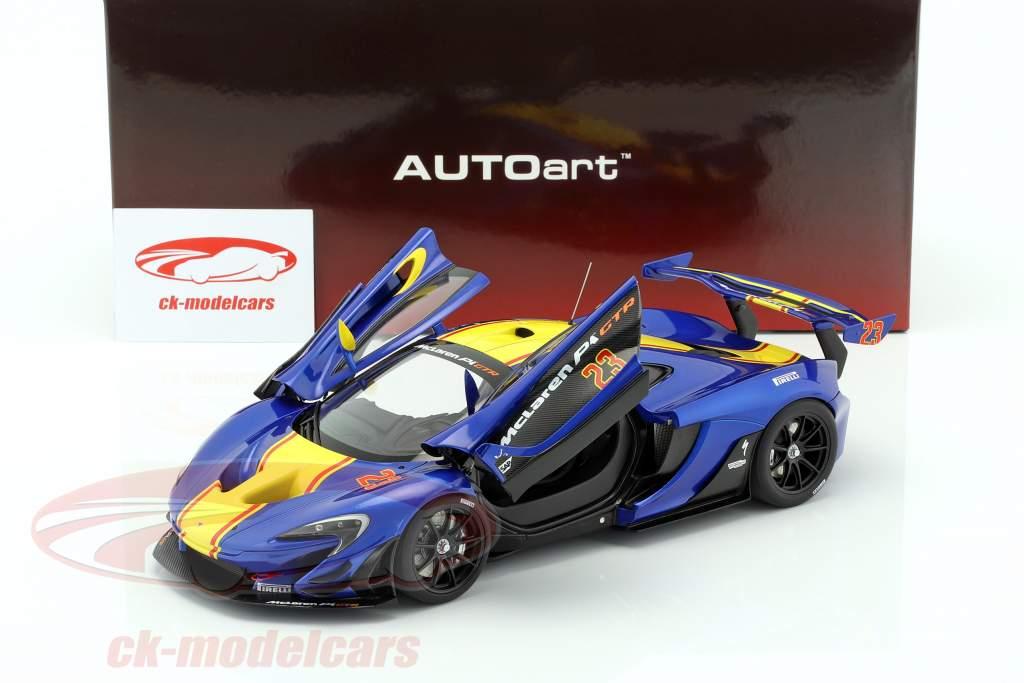 McLaren P1 GTR anno di costruzione 2015 blu metallico / giallo 1:18 AUTOart