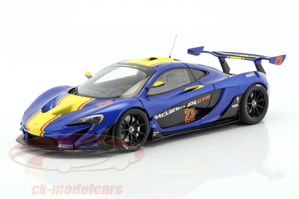 McLaren P1 GTR Bouwjaar 2015 blauw metalen / geel 1:18 AUTOart
