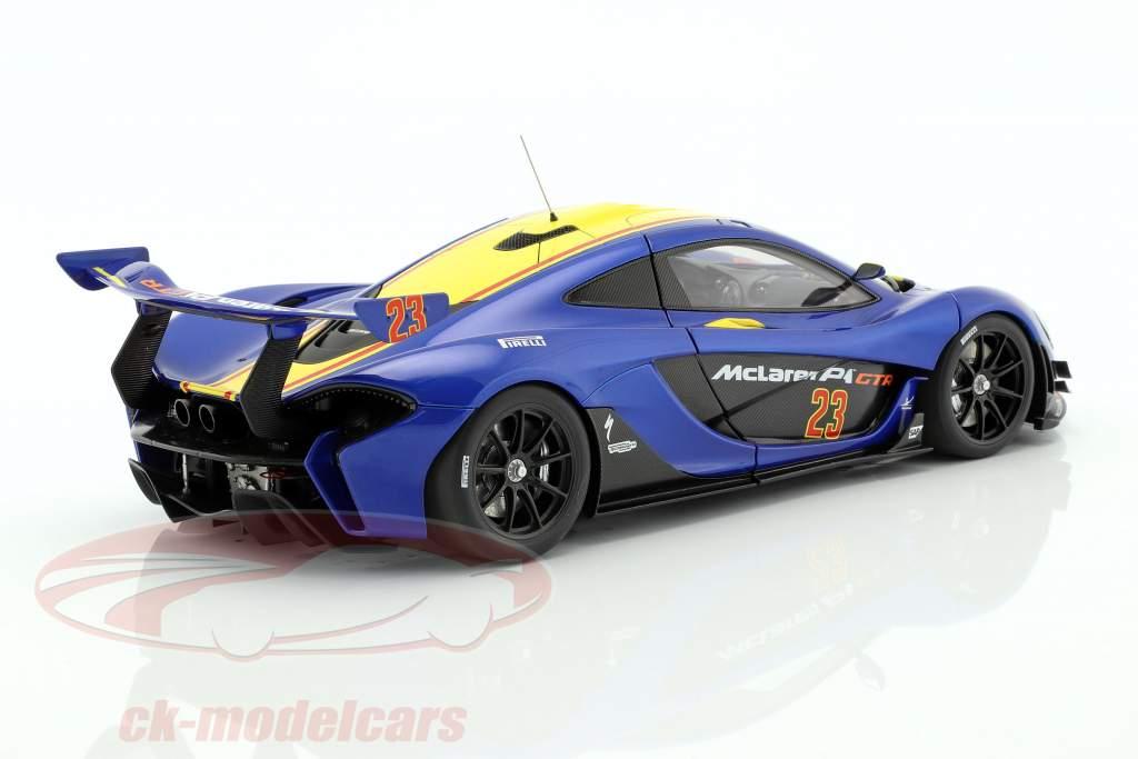 McLaren P1 GTR Opførselsår 2015 blå metallisk / gul 1:18 AUTOart