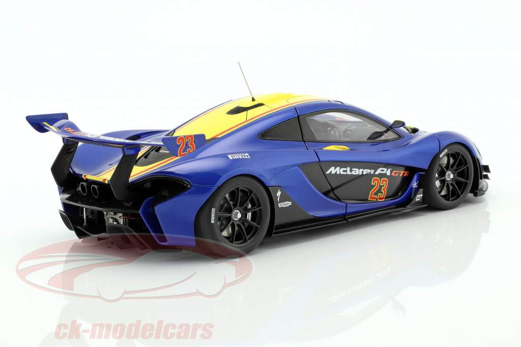 McLaren P1 GTR year 2015 blue metallic / yellow 1:18 AUTOart