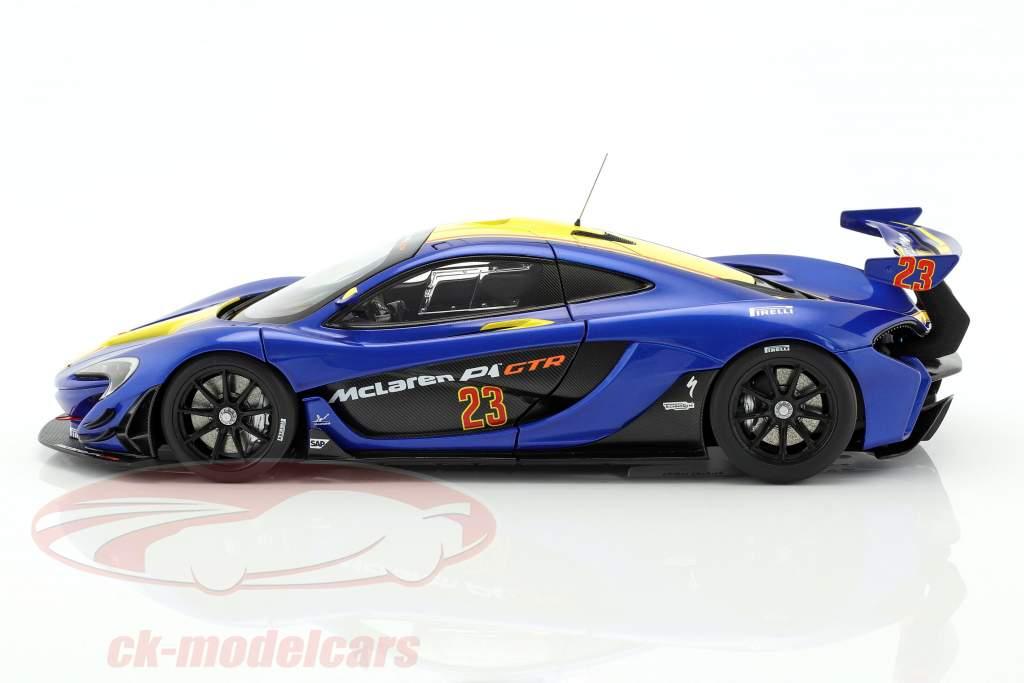 McLaren P1 GTR año de construcción 2015 azul metálico / amarillo 1:18 AUTOart