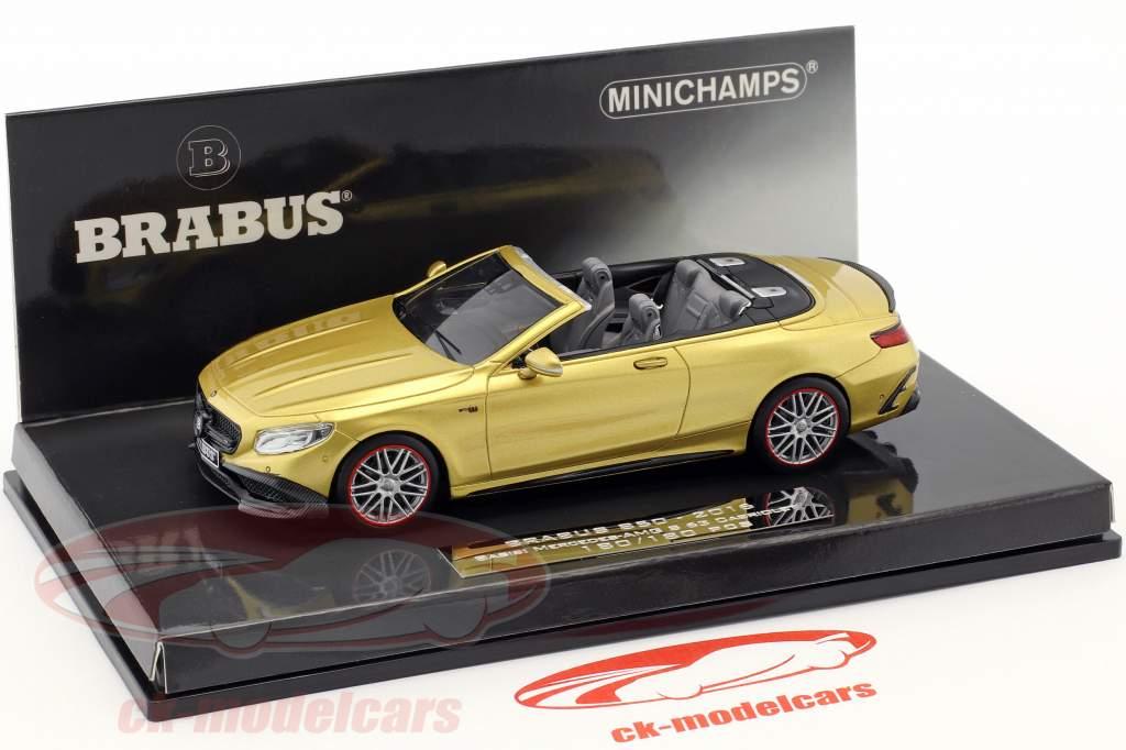 Brabus 850 baserede på Mercedes-Benz AMG S63 Cabriolet Opførselsår 2016 guld 1:43 Minichamps