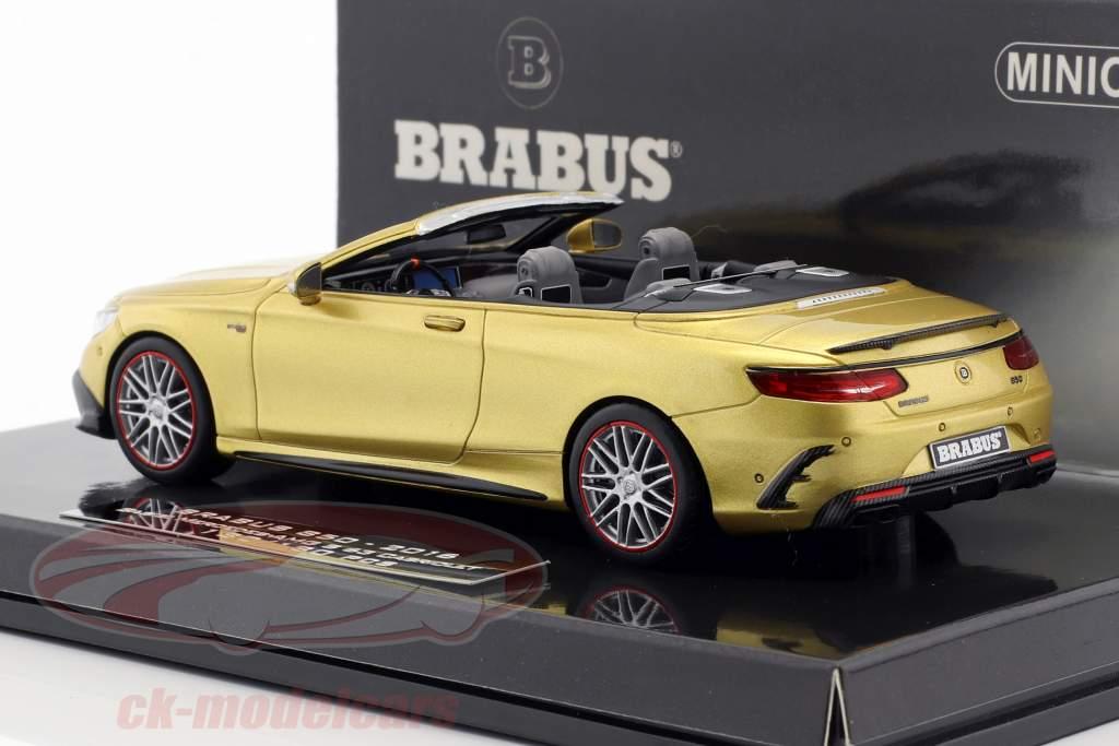 Brabus 850 gebaseerde op Mercedes-Benz AMG S63 Cabriolet Bouwjaar 2016 goud 1:43 Minichamps