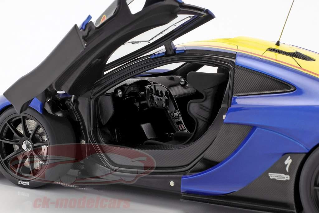 McLaren P1 GTR année de construction 2015 bleu métallique / jaune 1:18 AUTOart