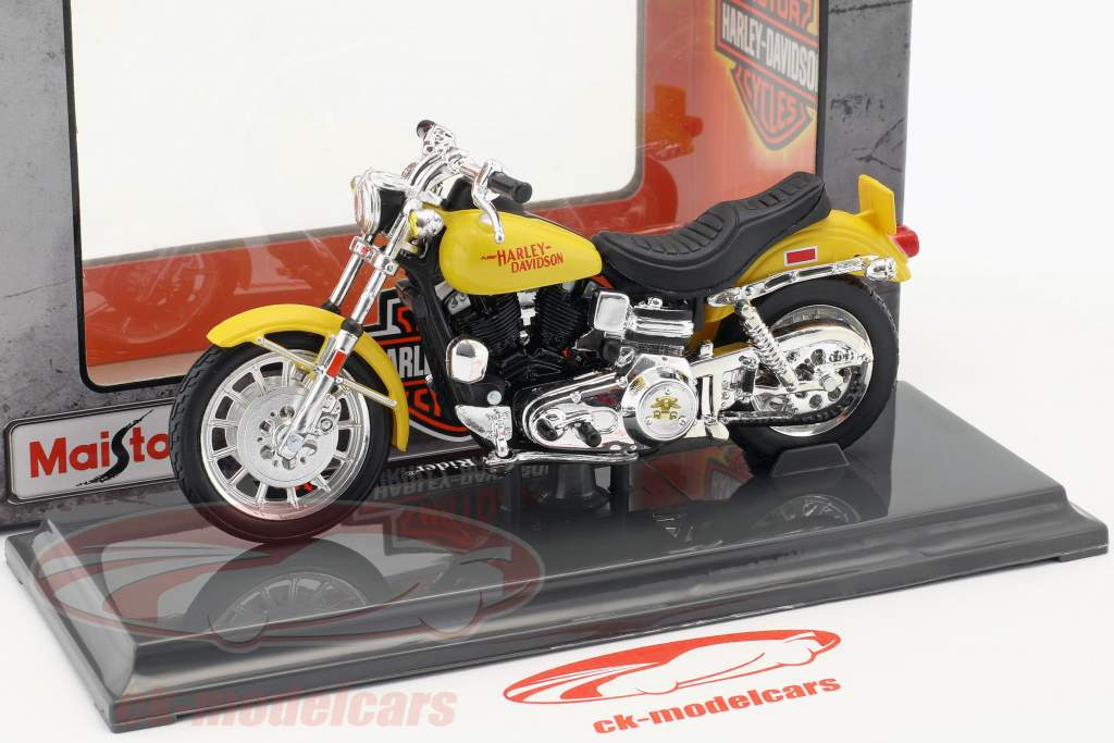 Harley-Davidson FXS Low Rider anno di costruzione 1977 giallo 1:18 Maisto