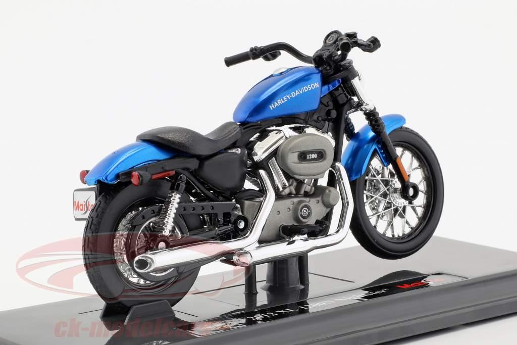Harley-Davidson XL 1200N Nightster ano de construção 2012 azul 1:18 Maisto
