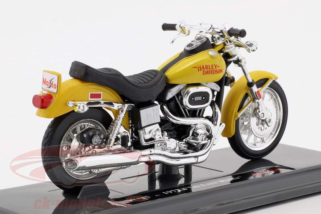 Harley-Davidson FXS Low Rider ano de construção 1977 amarelo 1:18 Maisto