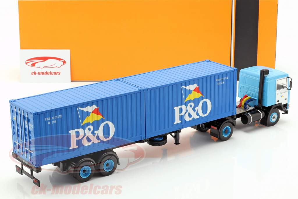 Volvo F10 truck with P&O container truck year 1983 blue 1:43 Ixo
