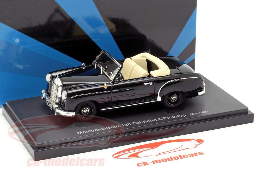 Mercedes-Benz 180 cabriolé A prototipo año de construcción 1953 negro 1:43 AutoCult