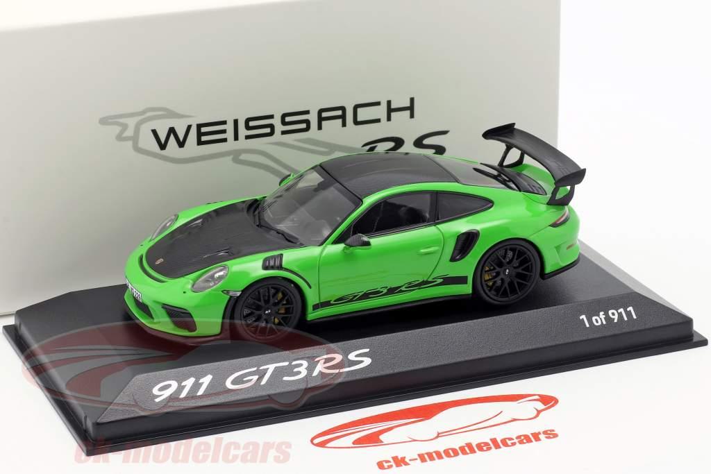 Porsche 911 (991) GT3 RS Weissach pakke 2018 firben grøn 1:43 Minichamps