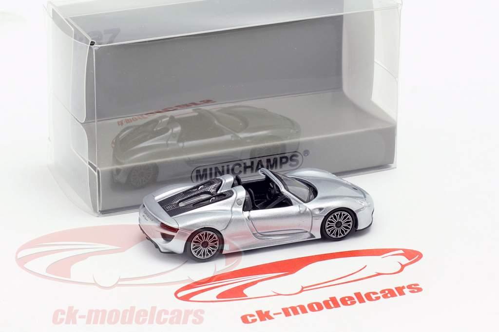 Porsche 918 Spyder anno di costruzione 2015 argento 1:87 Minichamps