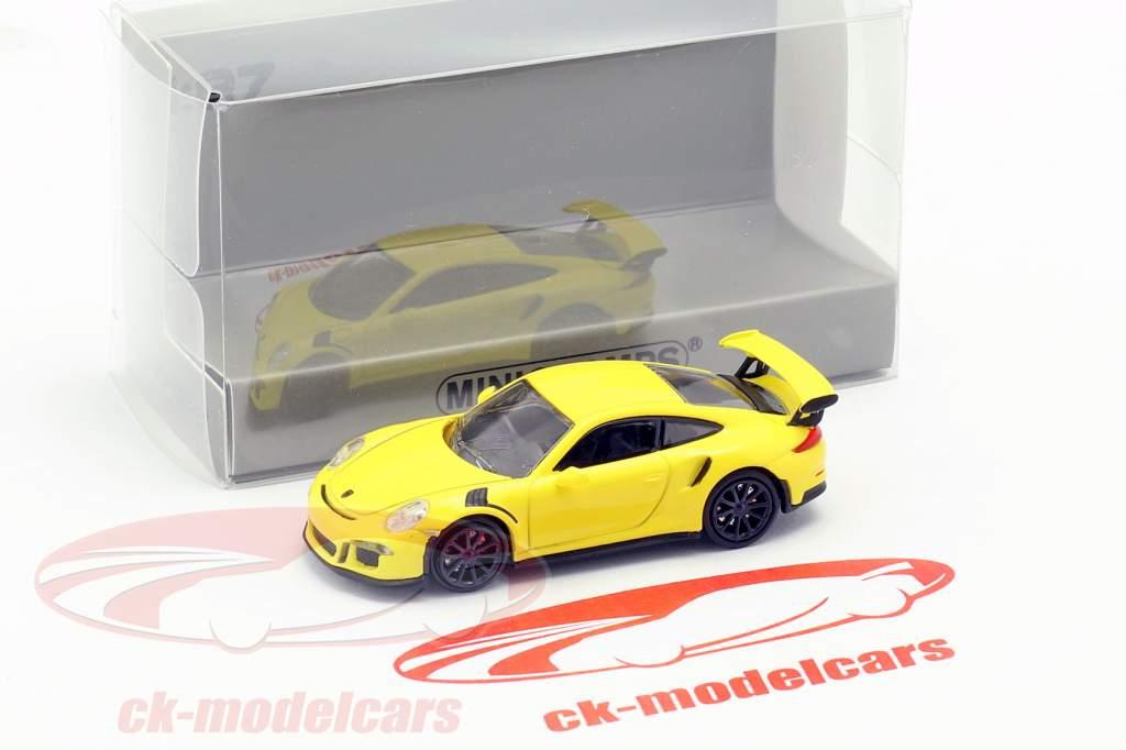 Porsche 911 GT3 RS año de construcción 2015 amarillo 1:87 Minichamps