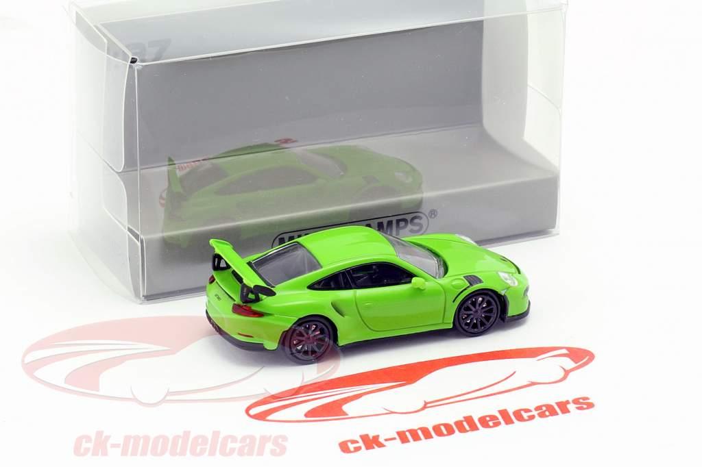 Porsche 911 GT3 RS ano de construção 2015 verde 1:87 Minichamps