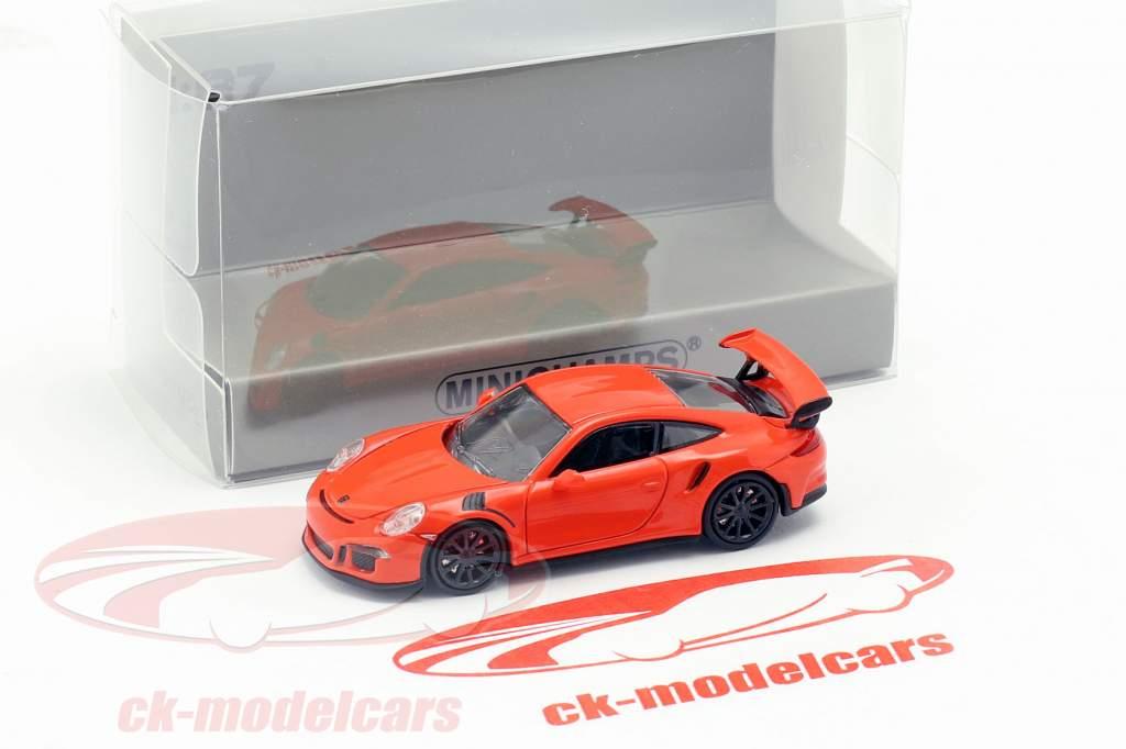 Porsche 911 GT3 RS anno di costruzione 2015 lava arancione 1:87 Minichamps