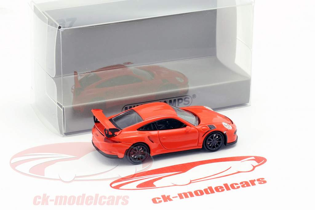 Porsche 911 GT3 RS Baujahr 2015 lava orange 1:87 Minichamps