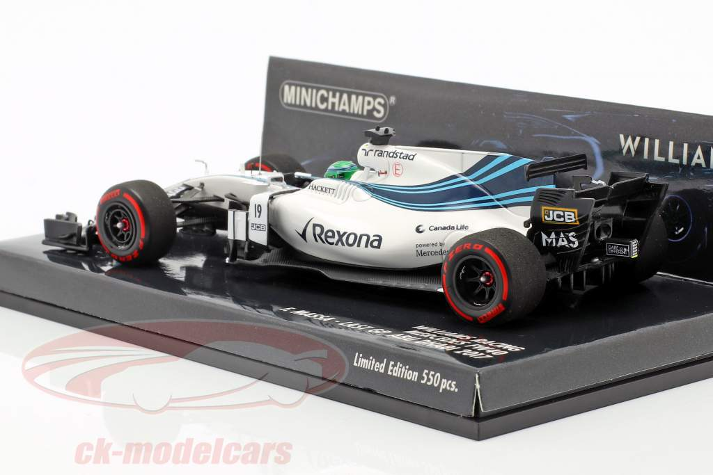Felipe Massa Williams FW40 #19 Last GP Abu Dhabi fórmula 1 2017 1:43 Minichamps