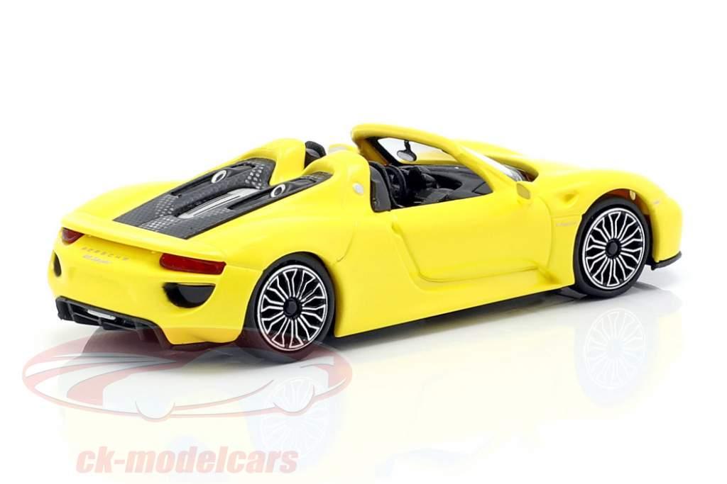 Porsche 918 Spyder ano de construção 2015 amarelo 1:87 Minichamps