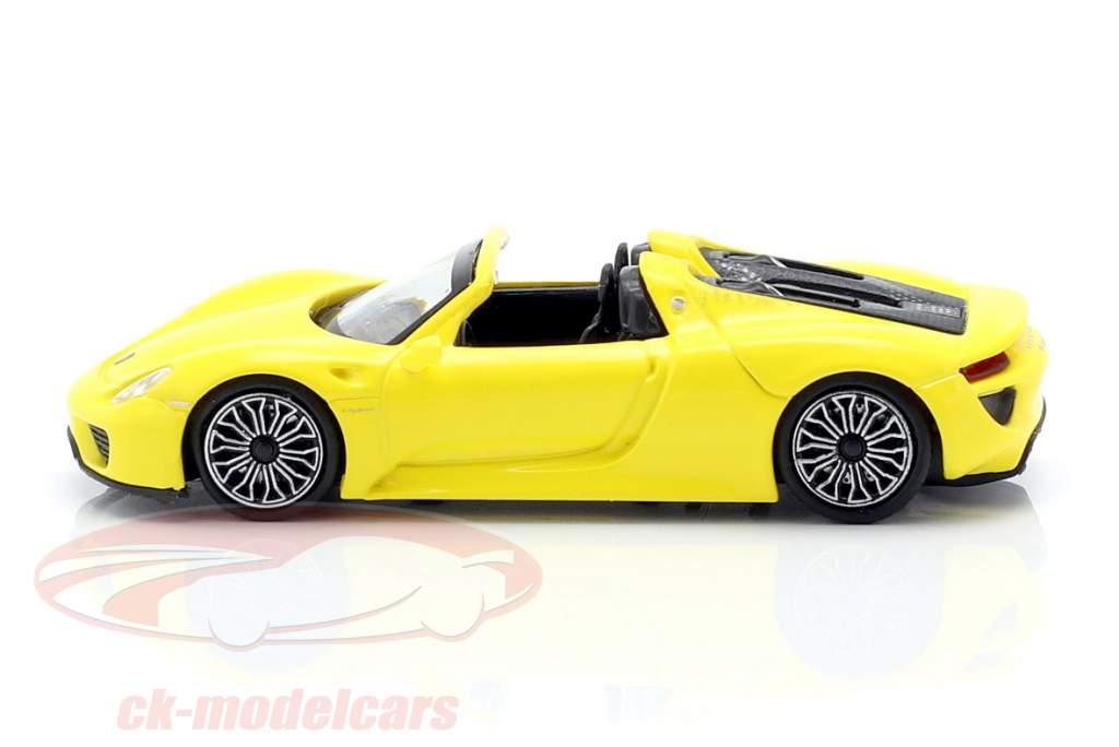 Porsche 918 Spyder Opførselsår 2015 gul 1:87 Minichamps