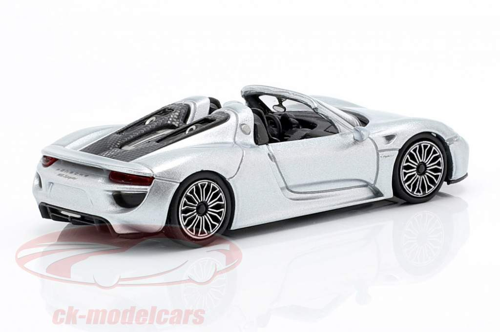 Porsche 918 Spyder Opførselsår 2015 sølv 1:87 Minichamps