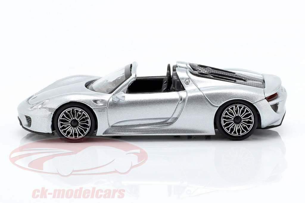 Porsche 918 Spyder Bouwjaar 2015 zilver 1:87 Minichamps