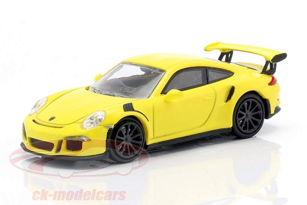 Porsche 911 GT3 RS Bouwjaar 2015 geel 1:87 Minichamps