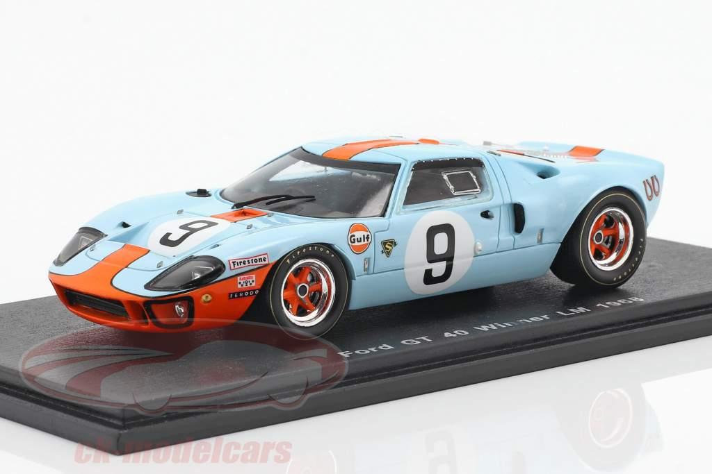 Ford GT 40 Gulf #9 Vinder 24h LeMans 1968 Rodriguez, Bianchi 1:43 Spark