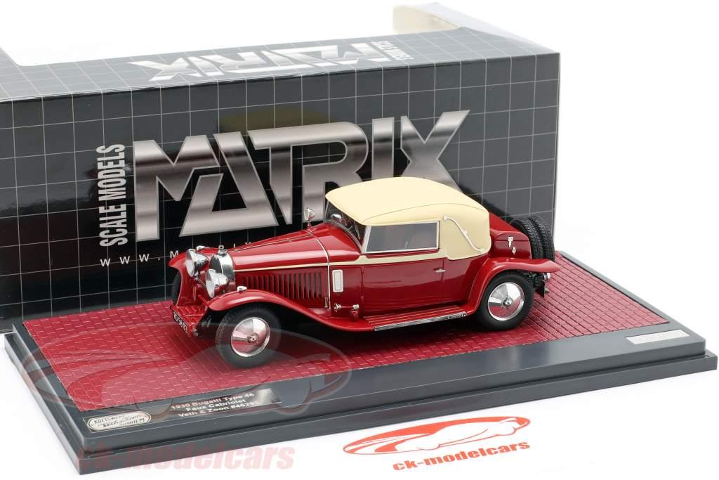 Bugatti typen 46 Faux Cabriolet Veth & Zoon Opførselsår 1930 rød / beige 1:43 Matrix