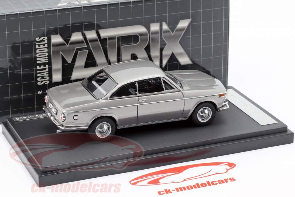 BMW 1602 Baur Coupe Opførselsår 1967 sølv 1:43 Matrix
