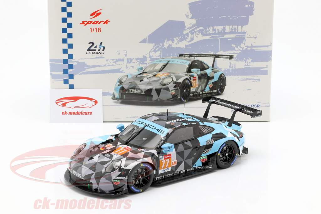 Porsche 911 RSR #77 Class Winner LMGTE Am 24h LeMans 2018 1:18 Spark