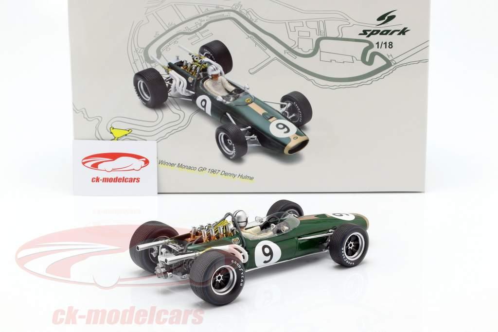 Denis Hulme Brabham BT20 #9 gagnant Monaco GP champion du monde F1 1967 1:18 Spark