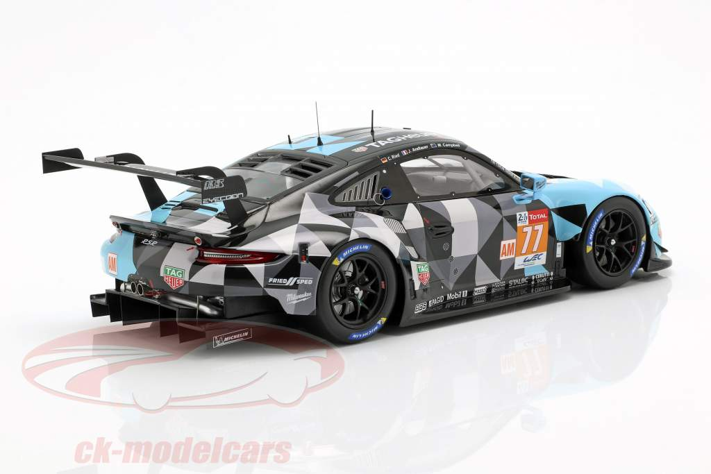 Porsche 911 RSR #77 Ganador de la clase LMGTE en 24h LeMans 2018 1:18 Spark