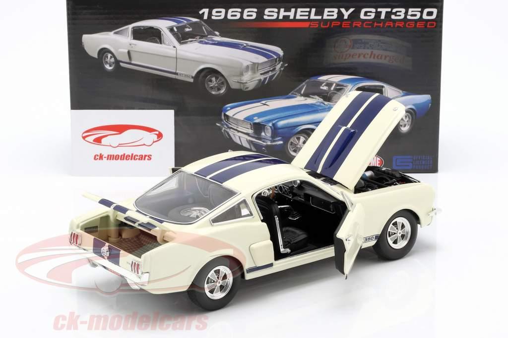 Shelby GT350 Supercharged année de construction 1966 blanc avec bleu rayures 1:18 GMP