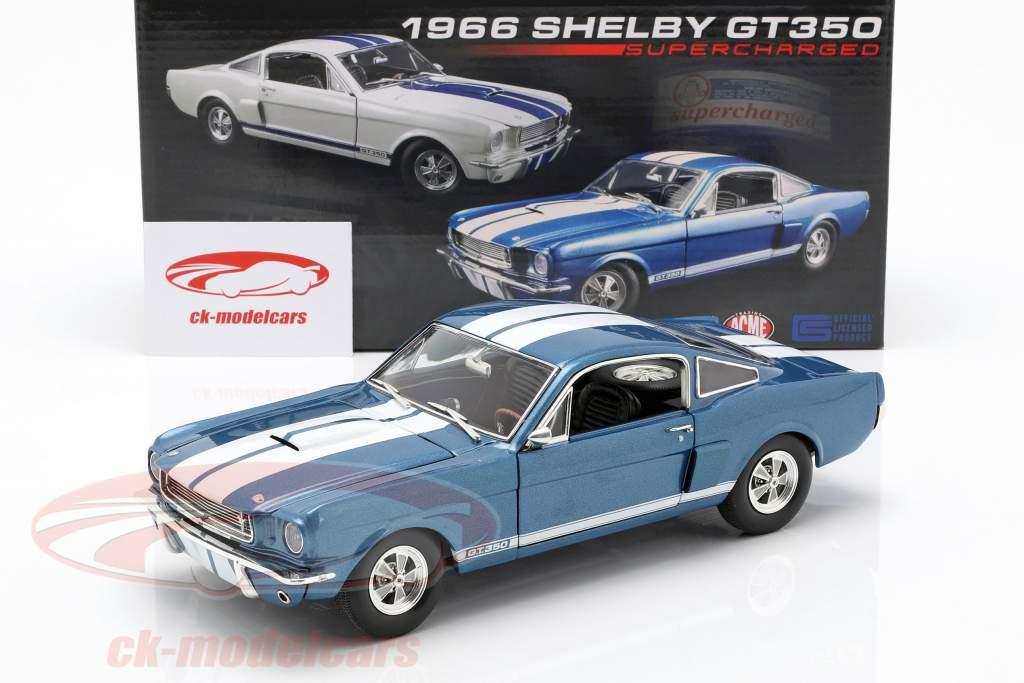 Shelby GT350 Supercharged año de construcción 1966 azul con blanco rayas 1:18 GMP