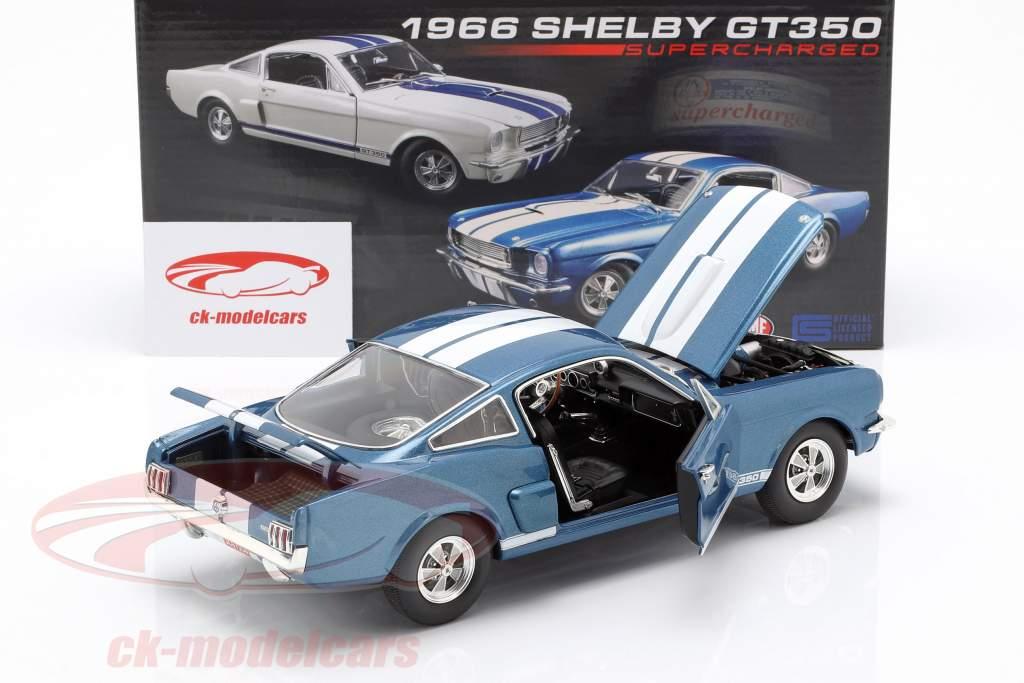 Shelby GT350 Supercharged année de construction 1966 bleu avec blanc rayures 1:18 GMP