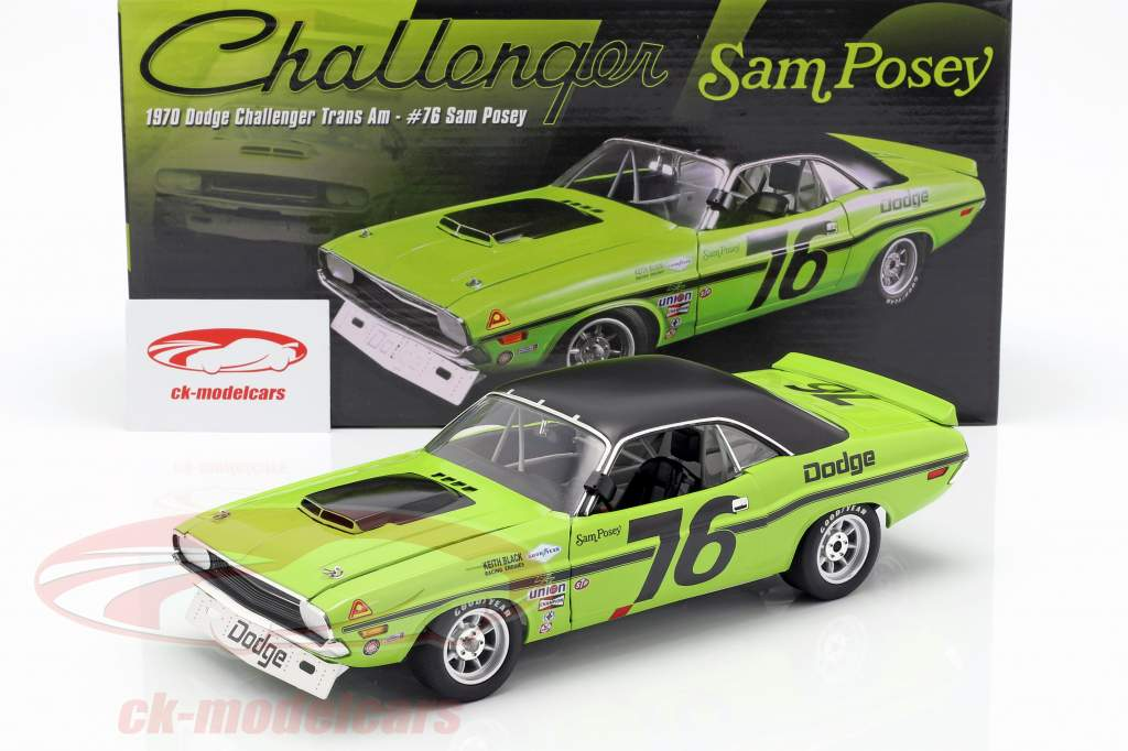 Dodge Challenger Trans Am #76 ano de construção 1970 Sam Posey  verde / preto 1:18 GMP