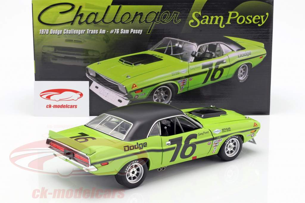 Dodge Challenger Trans Am #76 Opførselsår 1970 Sam Posey  grøn / sort 1:18 GMP