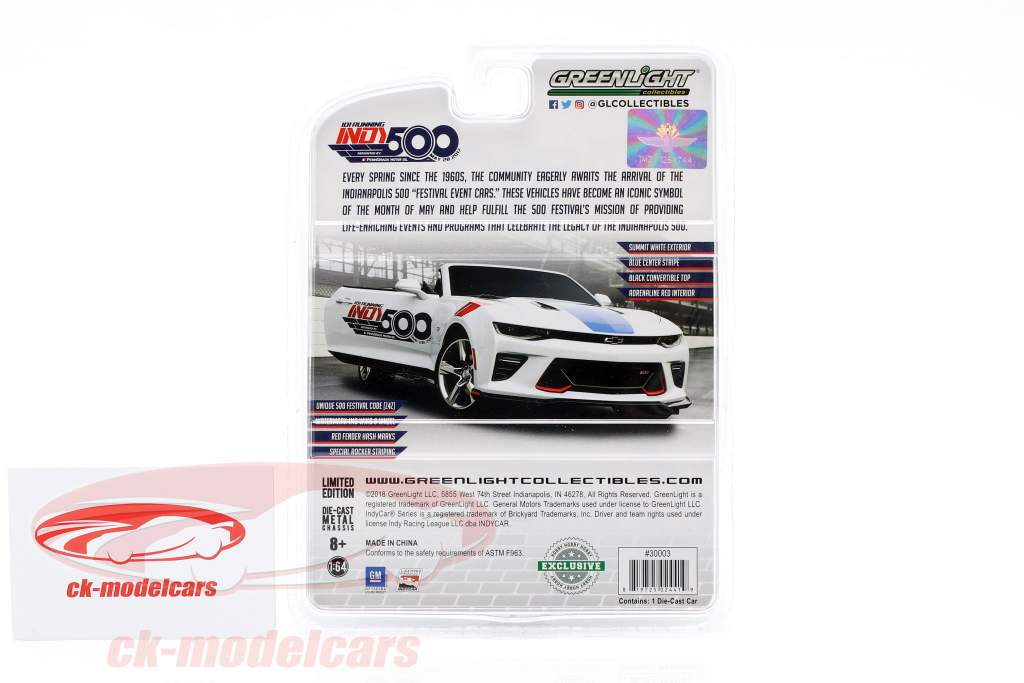 Chevrolet Camaro SS Indy 500 2017 Event Car 1:64 Greenlight