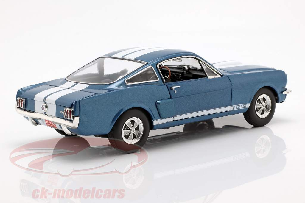 Shelby GT350 Supercharged year 1966 blue with white stripes 1:18 GMP