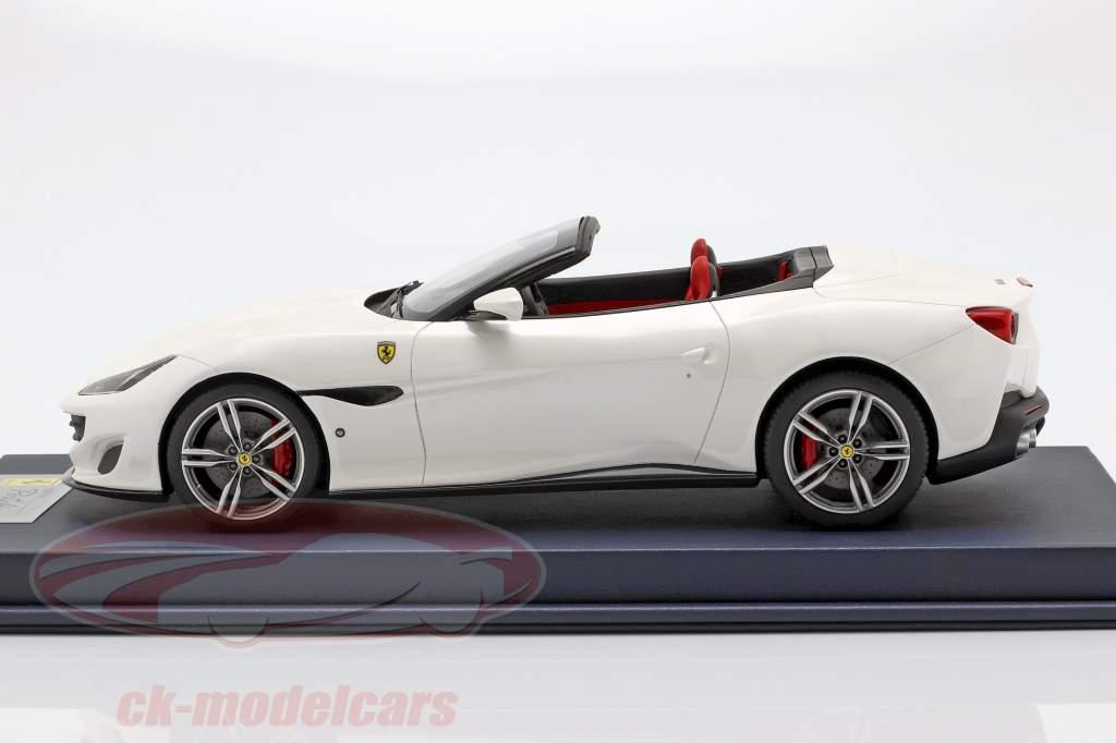 Ferrari Portofino Cabriolet Open Top Bouwjaar 2017 italia wit met vitrine 1:18 LookSmart