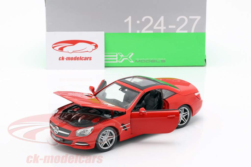 Mercedes-Benz SL 500 Opførselsår 2012 rød 1:24 Welly