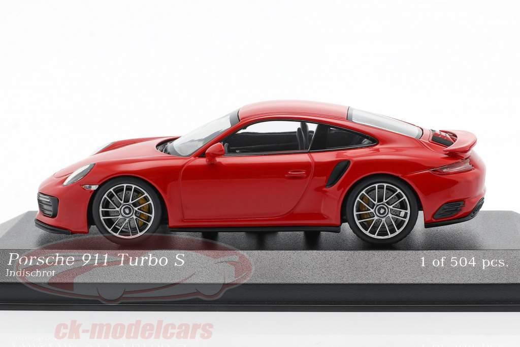 Porsche 911 (991 II) Turbo S Bouwjaar 2016 bewakers rood 1:43 Minichamps