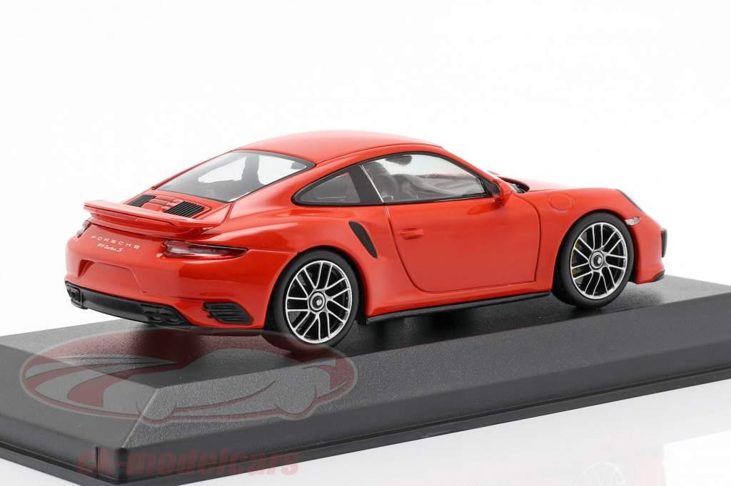 Porsche 911 (991 II) Turbo S Bouwjaar 2016 lava oranje 1:43 Minichamps