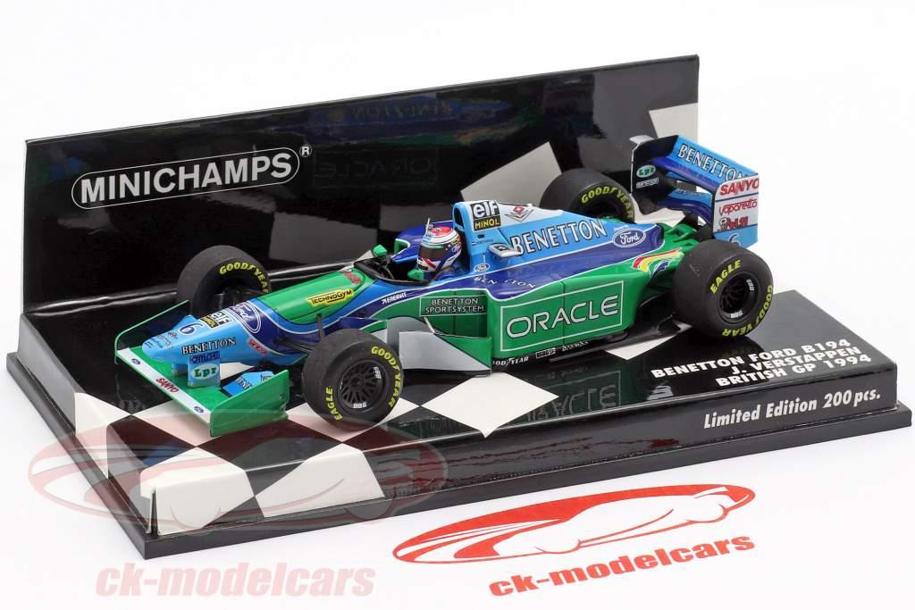 Jos Verstappen Benetton B194 #6 britânico GP fórmula 1 1994 1:43 Minichamps