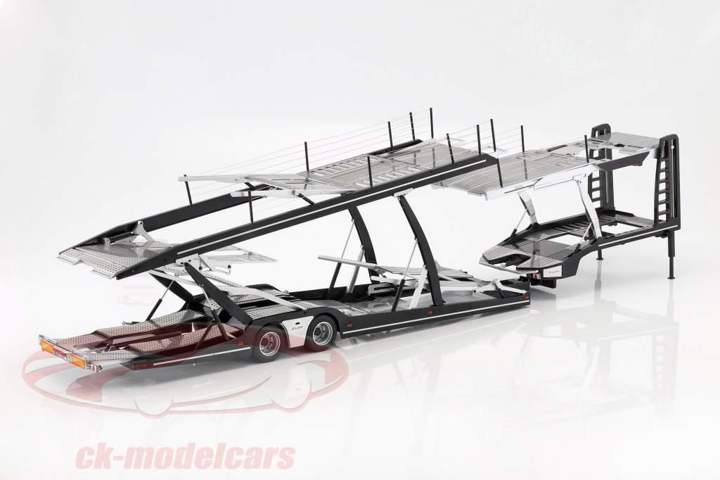 Lohr semi-remorque transporteur de voitures pour Mercedes-Benz Actros argent / noir 1:18 NZG
