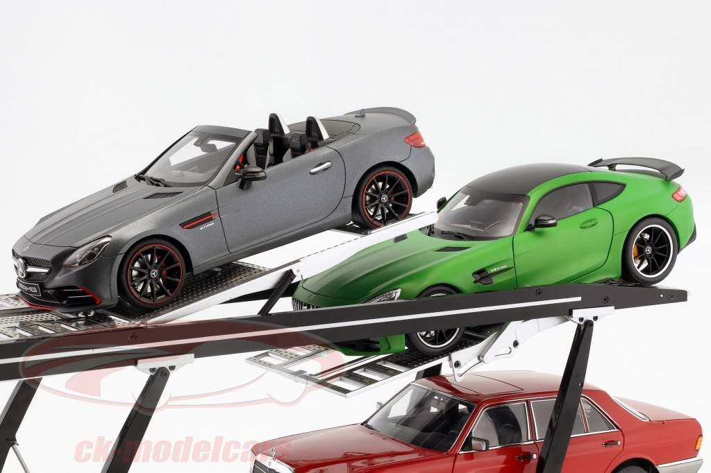 Lohr Auflieger Autotransporter für Mercedes-Benz Actros silber / schwarz 1:18 NZG