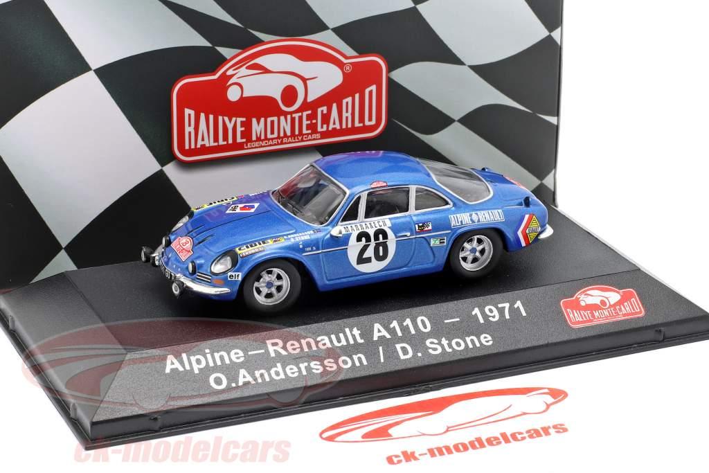 Alpine-Renault A1100 1600 #28 vincitore Rallye Monte Carlo 1971 Andersson, Stone 1:43 Atlas